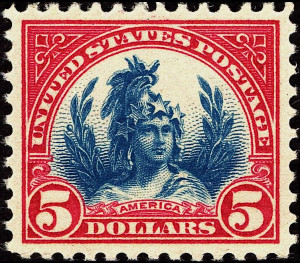 Freedom Stamp $5 - 1923. Photo by U.S. Post Office (2011). Smithsonian National Postal Museum. PD-USGOV. Wikimedia Commons.