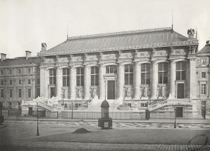 Palais de Justice. Notice the pissoir in the foreground. Photo by Charles Marville (c. 1853). Gift; Government of France; 1880. PD-100+. Wikimedia Commons.