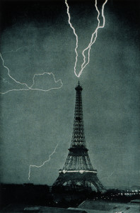 Lightning striking the Eiffel Tower, June 3, 1902 at 9:20 PM. Photo by M.G. Loppé (1902). Photolib.noaa.gov. PD-70+. Wikimedia Commons.