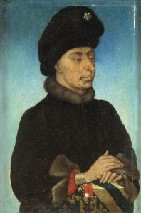Portrait of John the Fearless, Duke of Burgundy. Oil on panel painting by anonymous (mid-15th century). PD-100+. Wikimedia Commons.